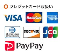 取り扱っているクレジットカードは「VISA」「MasterCard」となります。